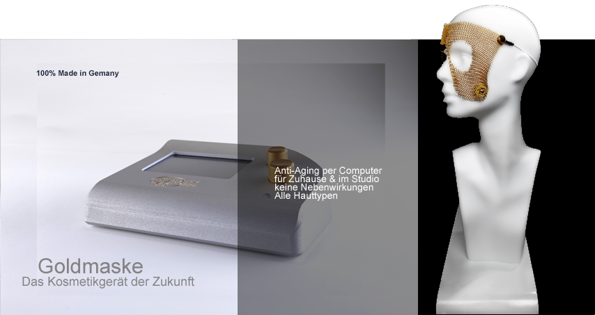 Kosmetikgerät Beauty-Revolution mit der Goldmaske auf der Basis von Ultraschall bzw. mittelfrequenten Strömen für maximale Verjüngung